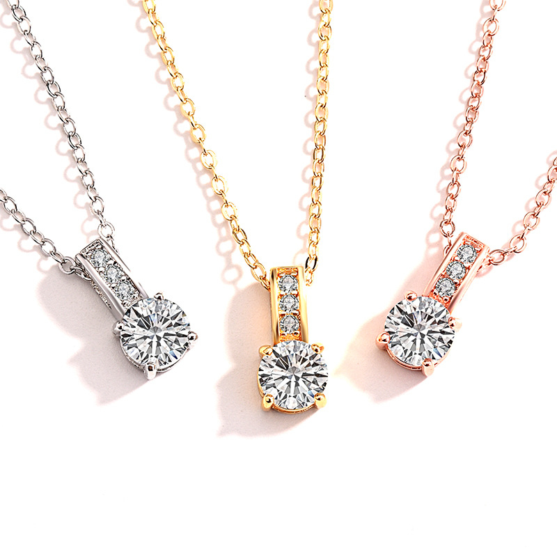 14K Rose Gold Necklace Gemstone Pendant For Women Colgante Plata De Ley Silver Color S925 Jewelry Pierscionki Jewelry Pendant