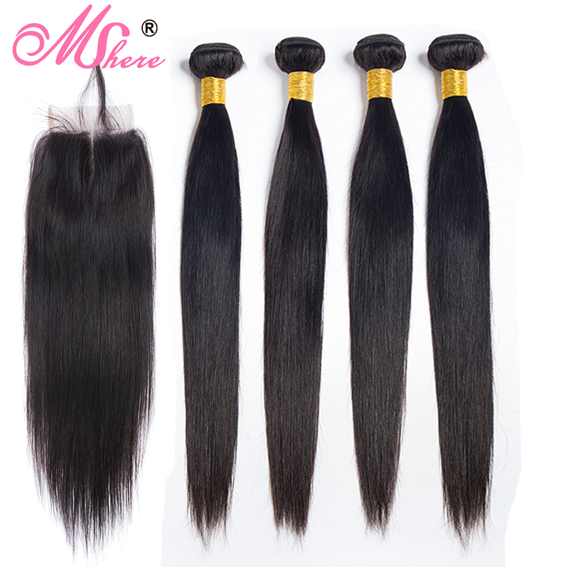Lace Closure With Human Hair Bundles Mshere Hair Malaysian Straight Hair Extensions With Middle Part Closure Non Remy 4 Pcs/Lot