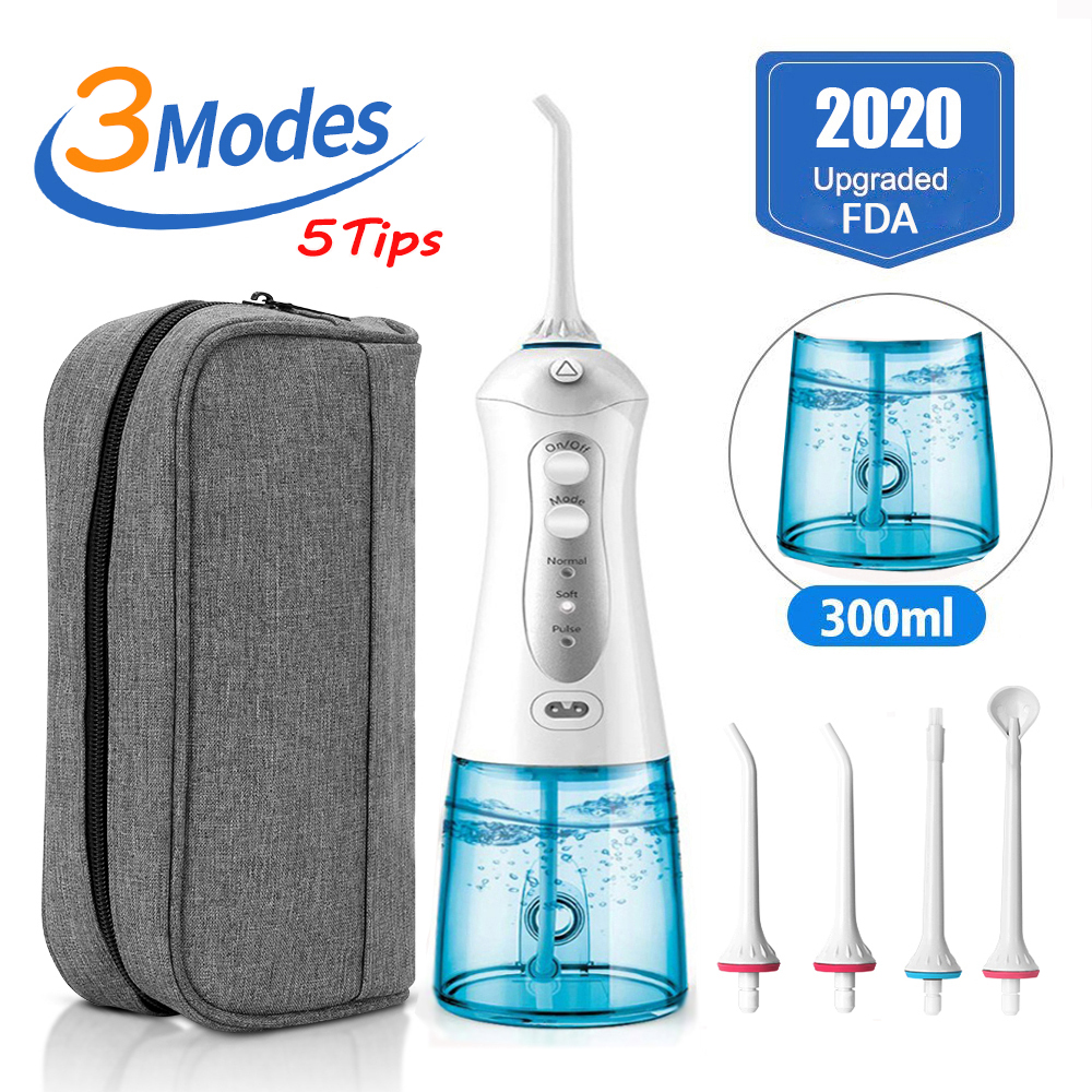 3 Modes Portable Oral Irrigator Cordless Water Dental Flosser USB Rechargeable 5 Nozzles Water Jet Floss Tooth Pick 300ml(China)