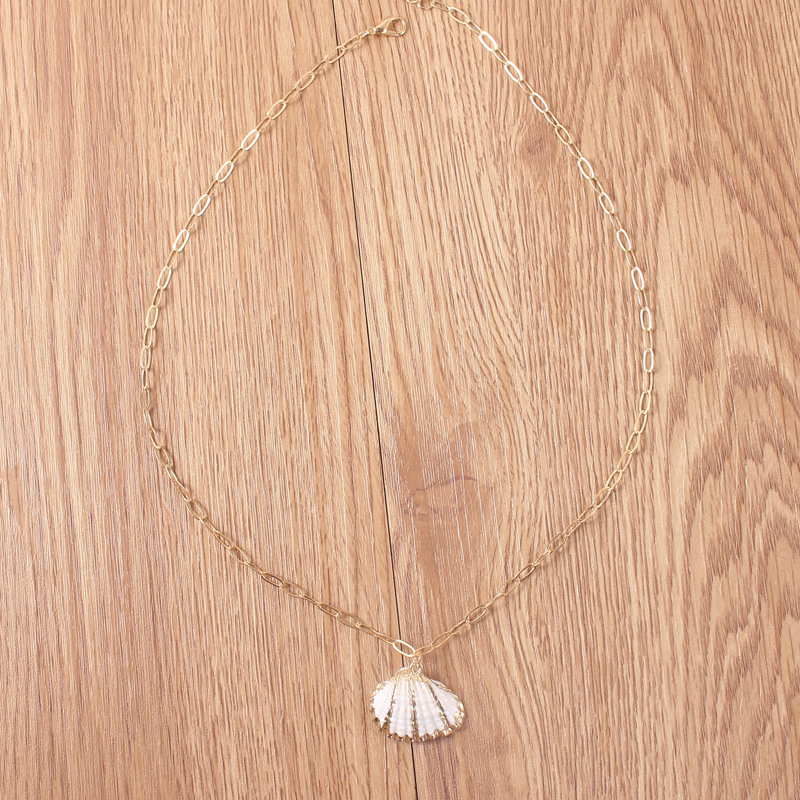 Punk Gold Color Nature Cowrie Shell Pendant Necklace for Women Statement Chain Choker Necklace Bohemian Beach Collier Bijoux