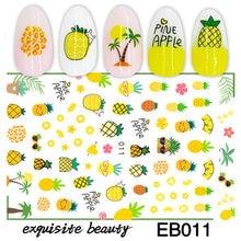 Novo 3d adesivos para unhas fruta abacaxi prego adesivo folha decalques da arte do prego decorações manicure acessórios