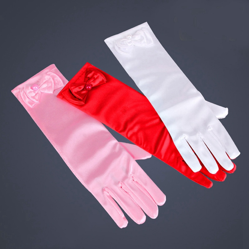 Satin Bridal Gloves For Girls Long Princess Cosplay Accessories Wedding Dress Glove With Bow Costume Birthday Gift Pink