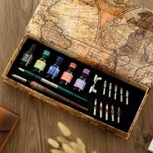Elegant Glass Dip Pen Set 10 Pieces Nibs Black Ink Wooden Pen Birthday Present Stationery Gift Box For Children