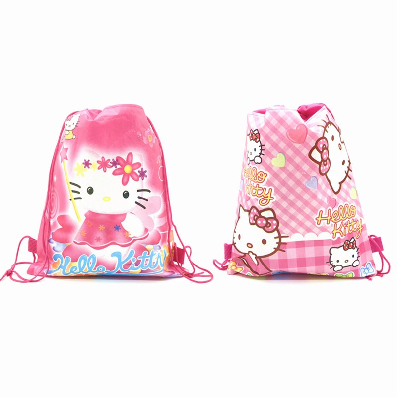 1pcs Cartoon Hello Kitty Theme Birthday Party Gifts Non-woven Drawstring Bags Kids Boy Girls Favor Swimming School Backpacks