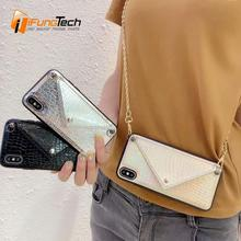 leather snakeskin phone bag fashion envelope messenger case cover with card holder shoulder strap for iphone x xs max