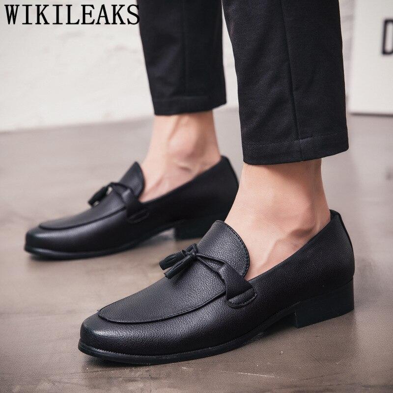 Loafers Black Gents Shoes Wedding Dress