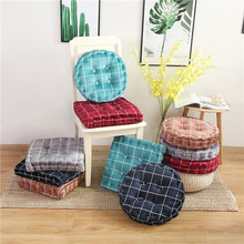 Simanfei Seat Cushion Floor Pillow Concise Plaid Square Pouf Round Tatami Futon Cotton Linen Soft Chair Mat
