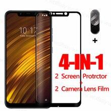 מלא דבק מסך מגן עבור Xiaomi Pocophone F1 זכוכית עבור Poco X3 X2 F2 M2 פרו מזג זכוכית מגן טלפון סרט Poco F1