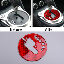 Console Gear Shift Panel Cover Trim Frame Red Carbon Fiber Fit for Nissan 370Z 2009 2010 2011 2012 2013 2014 2015 2016 2017 2020