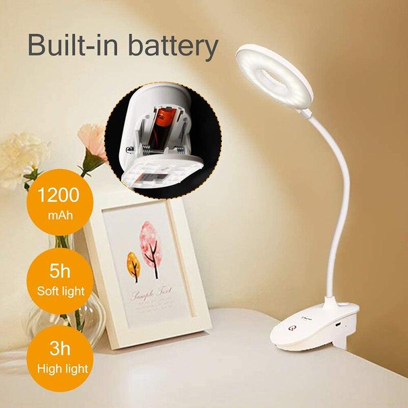 Новый клип настольная лампа исследование 3 режима сенсорный 1200 мА/ч, Перезаряжаемые светодиодный настольная лампа для чтения USB Настольный ...