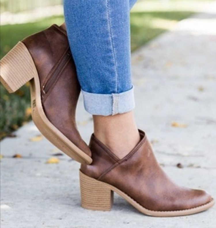 รองเท้าผู้หญิงรองเท้า Retro กลางส้นรองเท้าข้อเท้า 2019 CHIC ฤดูร้อนหญิง BLOCK รองเท้าส้นสูงกลางลำลอง Botas Mujer Booties Feminina PLUS ขนาด 43
