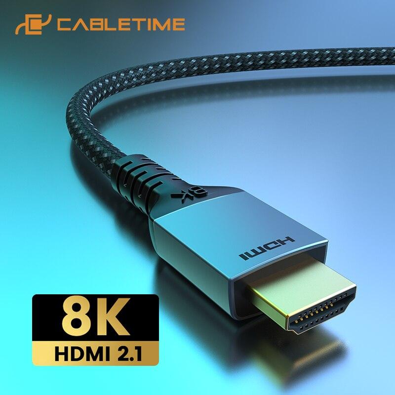 2021 CABLETIME Premium 8K HDMI Kabel HDR 8K/60Hz 4K/144Hz Ultra HD für Laptop Macbook Lenovo HDTV LG Sony Video C388