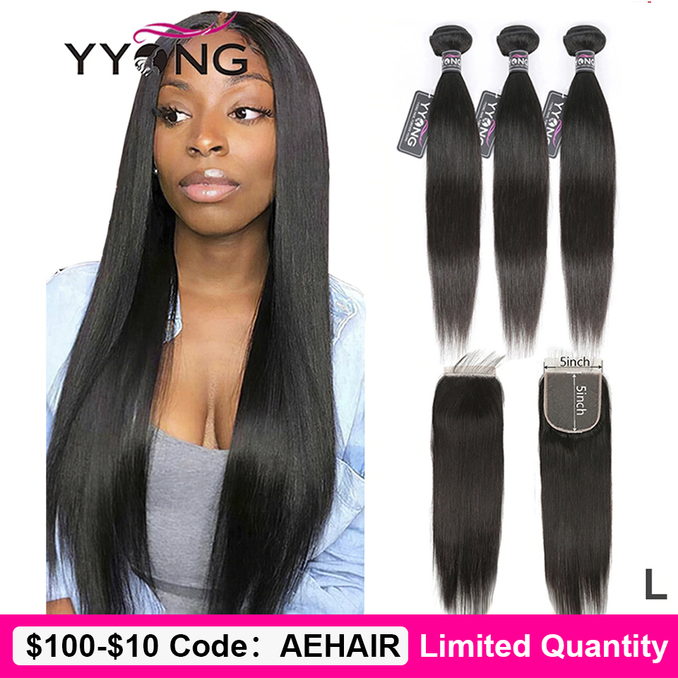 Yyong Hair 5x5 Closure With Bundles Brazilian Straight Bundles With Closure Remy 8-30inch Human Hair Lace Closure With Bundles