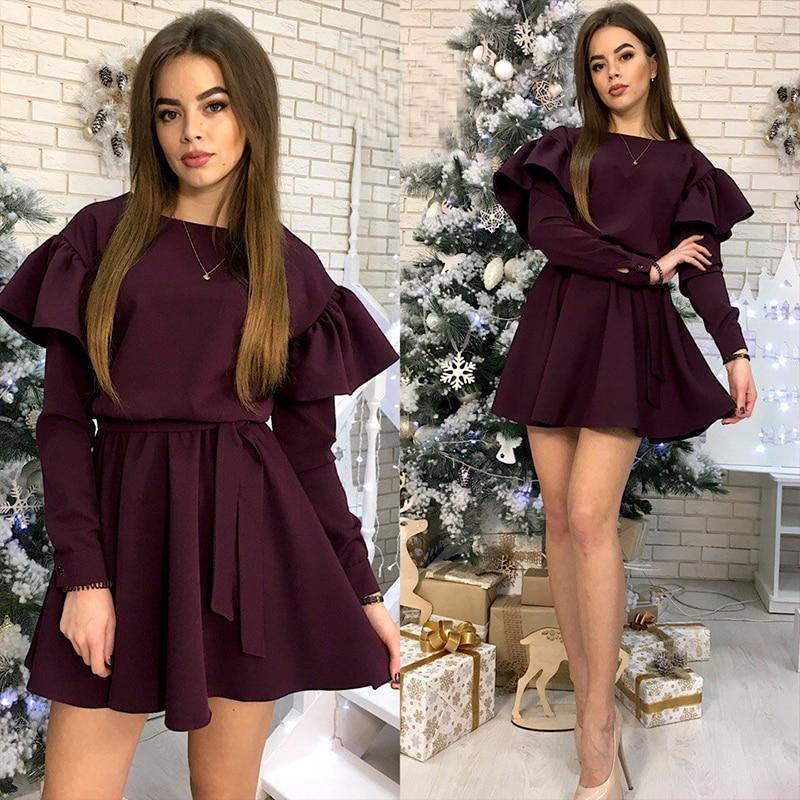 Women Sashes Sweet Ruffles A Line Party Dress Ladies Long Sleeve O Neck Elegant Dress 2019 New Fashion Women Mini Dress Vintage