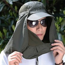 Chapeaux de rabat de pêche séchage rapide parasol Protection UV amovible oreille cou couverture en plein air été soleil respirant chapeaux