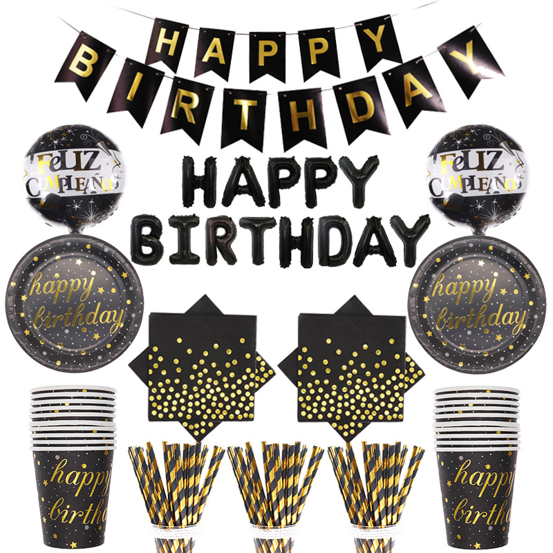 Happy Birthday Party Decoration Disposable Tableware Paper Towel Cup Straw Plate Balloon Supplies 10 Gold Black