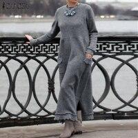 Модное женское длинное платье-Толстовка ZANZEA, Осеннее кружевное платье с длинным рукавом, сарафан в стиле пэчворк, однотонное платье, женско...