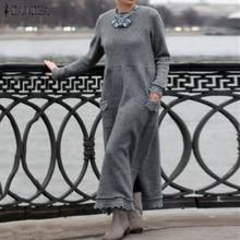 Fashion ZANZEA Women Long Sweatshirt Dress Autumn Long Sleeve Lace Patchwork Sun