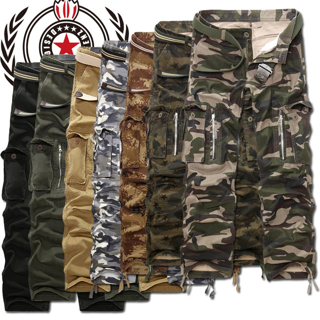 MIXCUBIC brand army tactical pants Multi-pocket washing 100% cotton army green camouflage cargo pants men plus large size 28-40 1