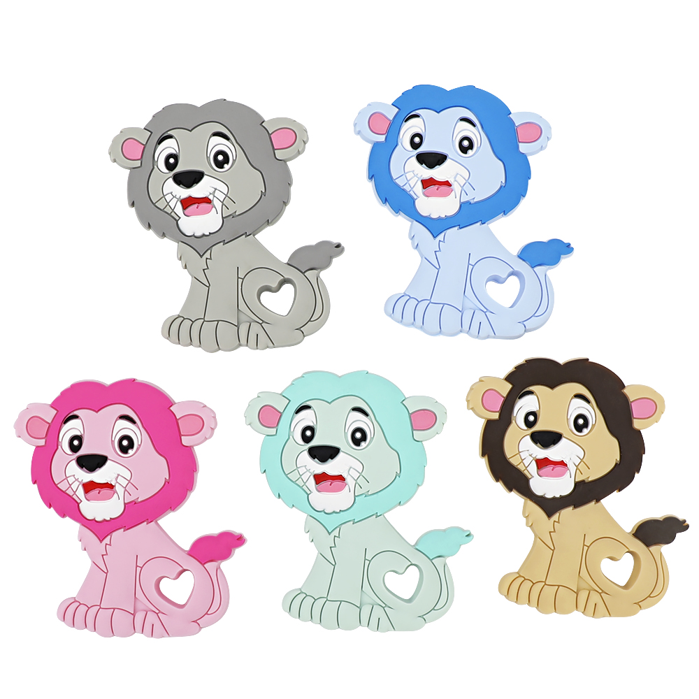 Color Lion Food Grade Silicone Teether Toys Newborn Teething Baby Shower Gifts Cartoon Animals Teether