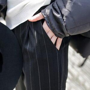 Image 4 - Women Pants Striped Pockets Loose Thin Summer Korean Harem Trousers Harajuku Womens Elastic Waist Casual New Style Fashion Daily