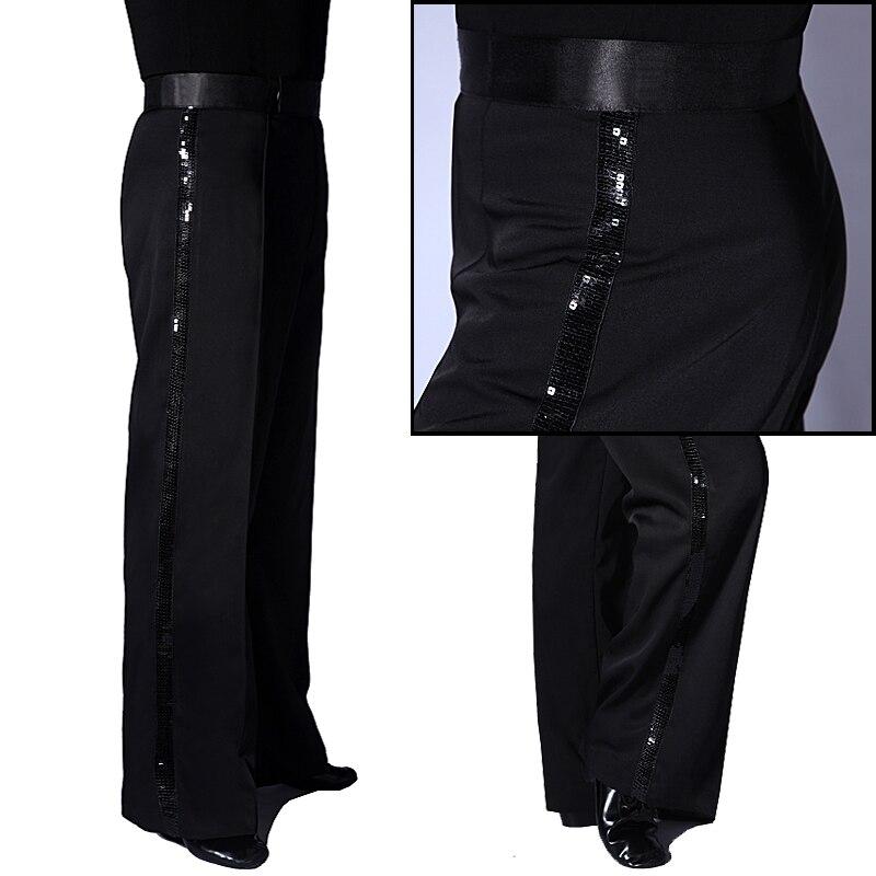 Men Latin Dance Pants Black Sequin Side Stripe Trousers Tango Cha Cha Salsa Samba Dancing Clothes Ballroom Dancewear DN4315