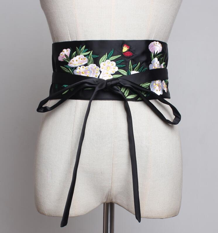 Women's Runway Fashion Embroidery Satin Cummerbunds Female Dress Corsets Waistband Belts Decoration Wide Belt R2256