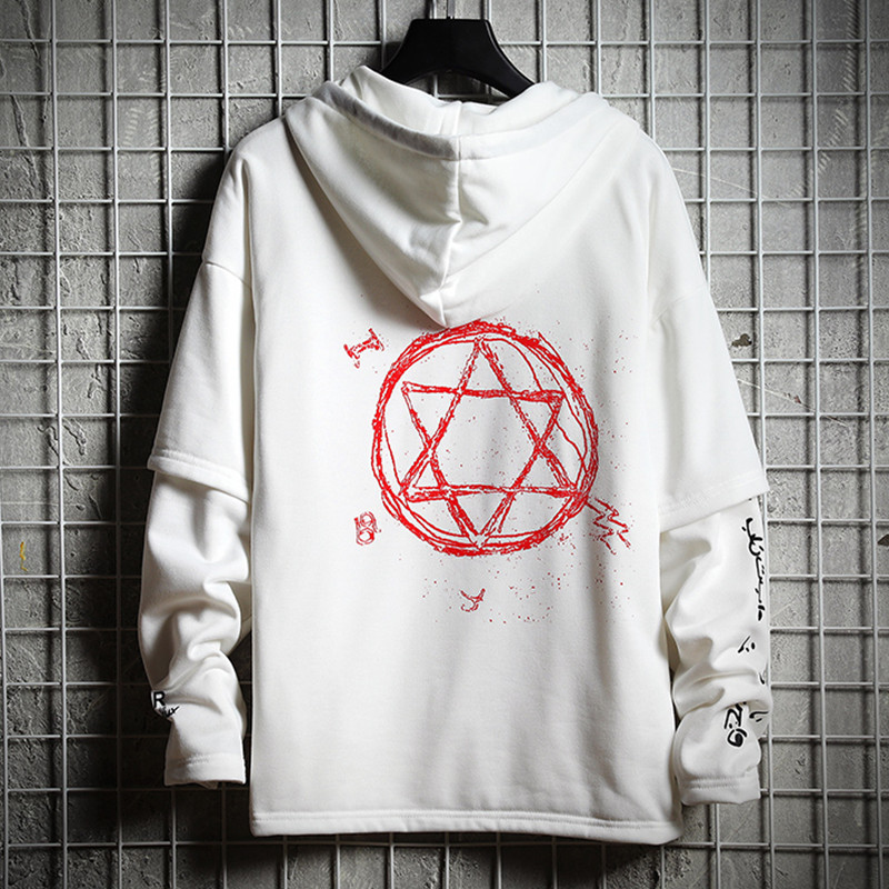 Hip Hop Men Hoodies Sweatshirt Autumn Cotton Black Male Streetwear Tops Soft White Loose Hooded Pullover Harajuku Tracksuit Coat