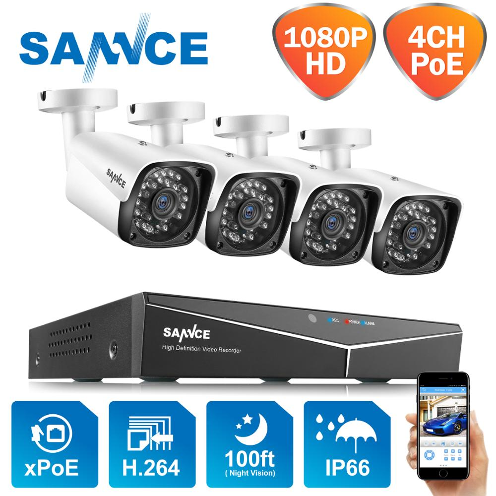 SANNCE 4CH HD 1080P XPOE CCTV NVR System 4PCS 2M IP Cameras Outdoor Weatherproof Home Video Security Surveillance Cameras System