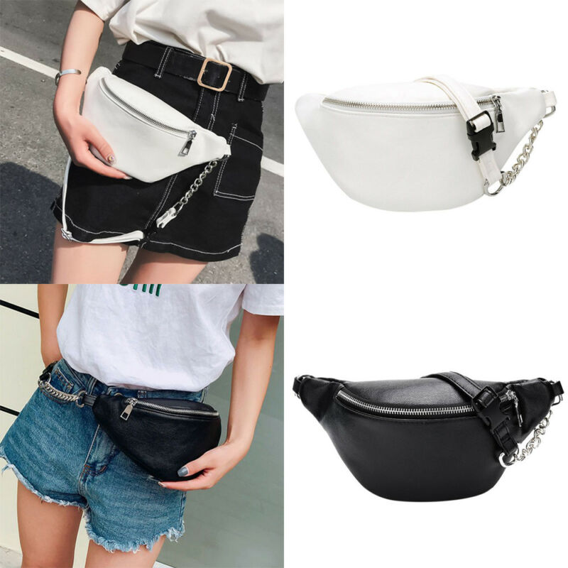 Women's Fashion New Waist Pack Solid PU Chain Belt Adjustable Chest Bag Travel Sports Outdoors Casual Bag Large Capacity