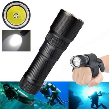 цена на LED Diving Flashlight DF008 High Quality Waterproof Diving Torch Lamp XM-L2 3 Modes Magnetic Control Switch with Holster
