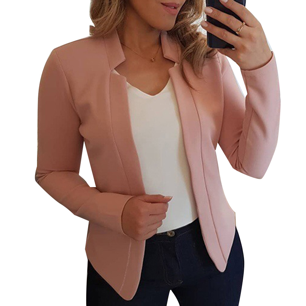Autumn Fashion Plus Size Solid Color No Button Blazer Women Long Sleeve Slim Office Suit Jacket Coat Single Breasted All-match
