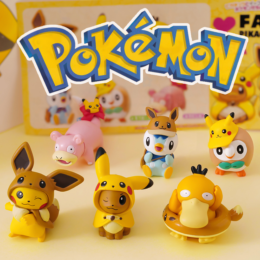 Takara Tomy Pokemon Pikachu Eevee Slowpoke Piplup Psyduck Rowlet Action Figure Pokemon Big Head Doll Elf Ball Children Toy Gifts 1