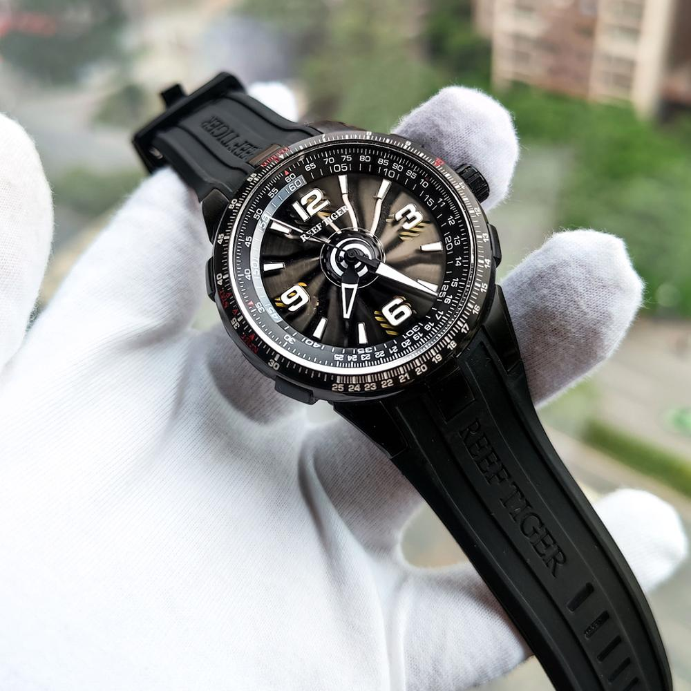 New 2021 Reef Tiger/RT Men\'s Sport Automatic Watches Black Steel Military Watch Luminous Watch Waterproof Luxury Brand RGA3059