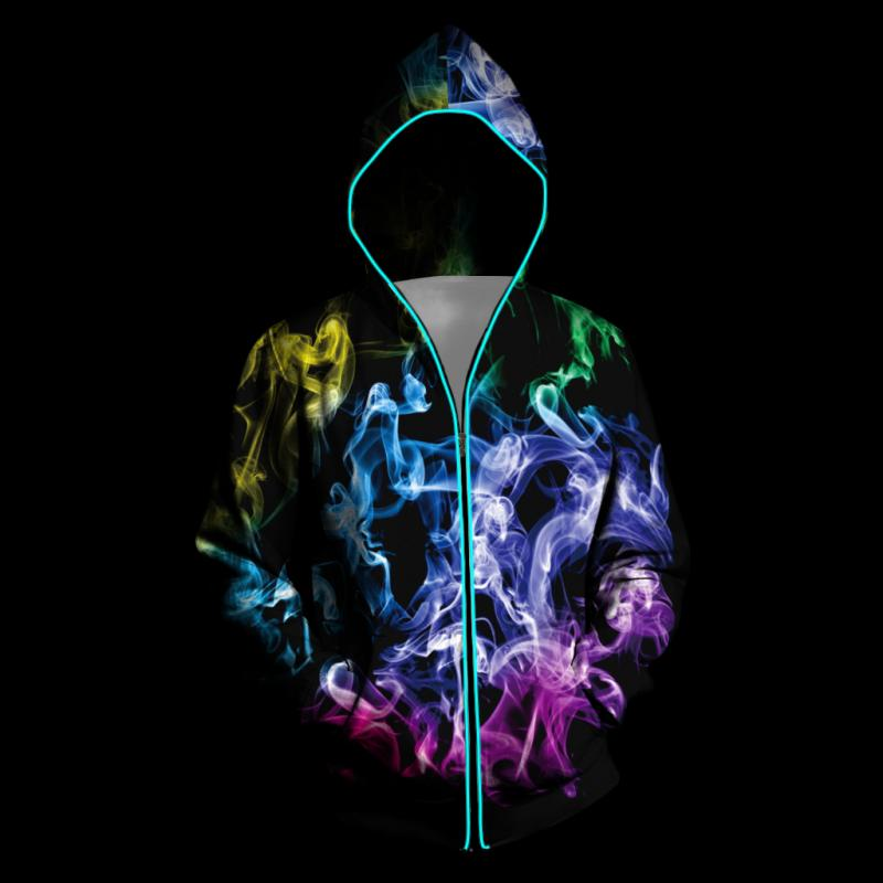 VIP FASHION New Shiny Zipper Hoodie Hip-Hop Style Fluorescence Battery 3D Galaxy Print Hoodie For Men