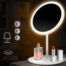 Espelho de maquiagem com luz led senhoras rosto espelho ajustável toque dimmer usb led espelho de vaidade mesa espelho de cosméticos