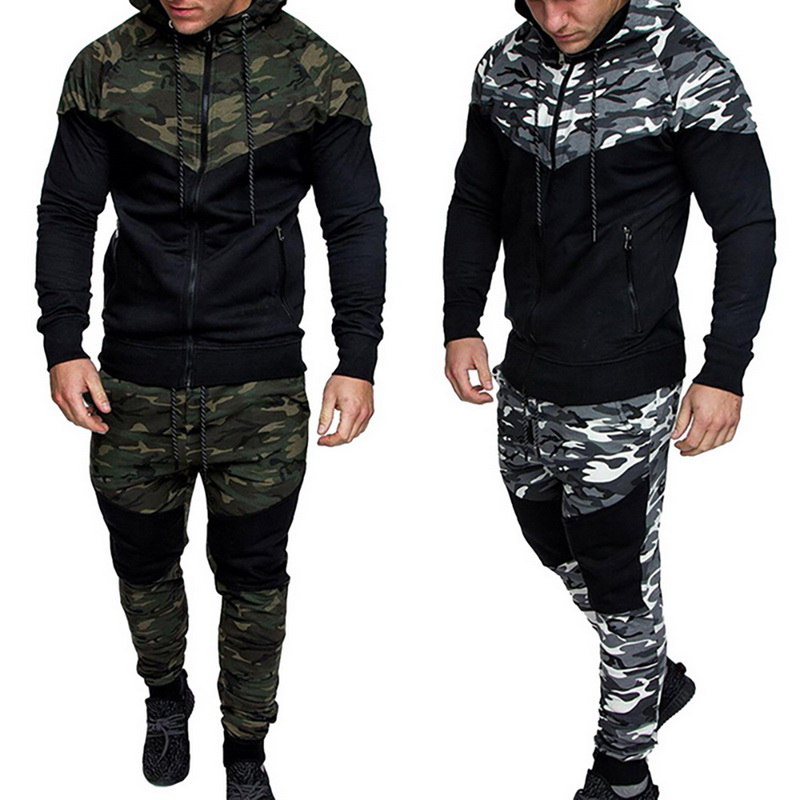 Mens Camo Jacket+Pants Causal Camouflage Print Sets 2Pc Tracksuit Fashion Sportwear Hoodies Sweatshirt &Pant Suit Plus Size XXL