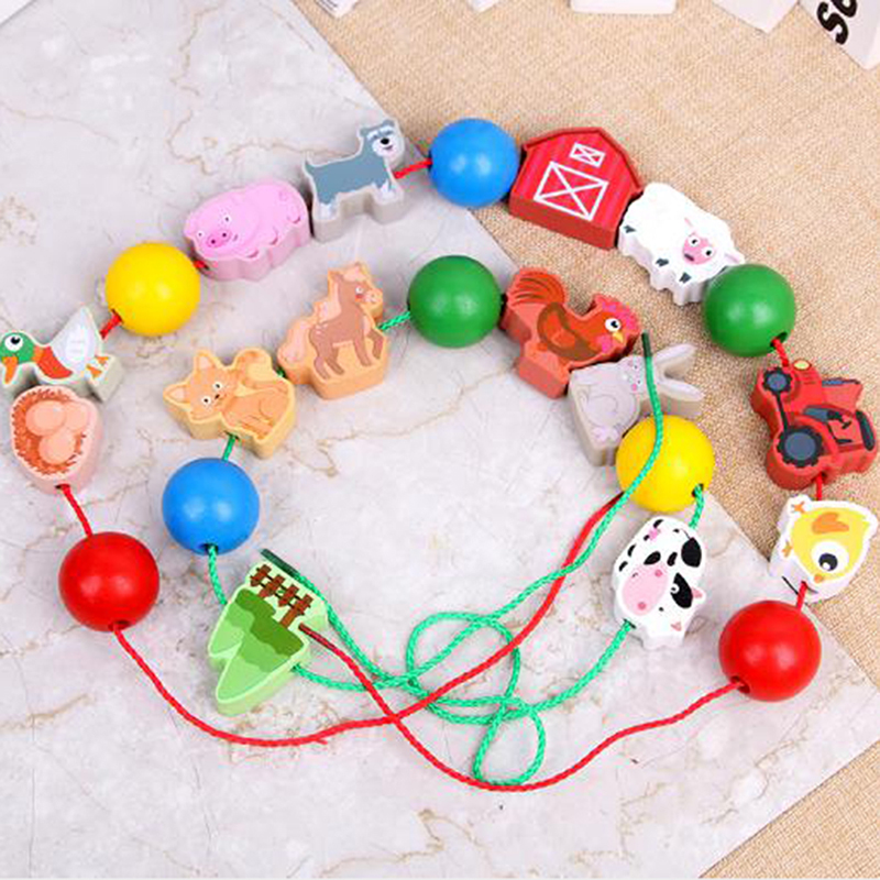 Popular Wooden Animal Fruit Lacing Threading Beads Block Toys For Children Learning Education Cartoon Colorful Products Kids Toy