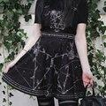 InsGoth Pentagram Print Schwarz Strap Röcke Gothic Harajuku Hohe Wiast Plissee Mini Röcke Weibliche Chic Strumpf Mini Röcke