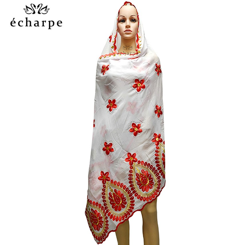 2020 New African Women Scarf, Embroidery Cotton Women Economic Scarf Big Size Scarf For Shawls EC984