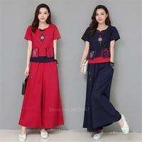 Chinese Dress Cheongsam Linen Lady Traditional Chinese Style Cheongsam Dresses Women Short Sleeve Qipao National Print Dress