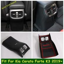 Couvercle de sortie de climatiseur arrière, accessoire en Fiber de carbone ABS, boîte d'accoudoir, garniture de couverture pour Kia Cerato Forte K3 2019 – 2021