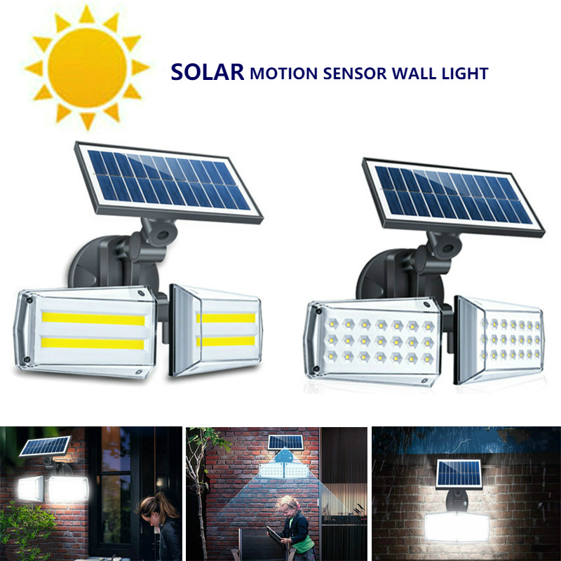42LED/80COB LED Solar Light 20W Roatable Double-ended Radar Microwave Induction Waterproof Solar Wall Lamp Outdoor Garden Lamp