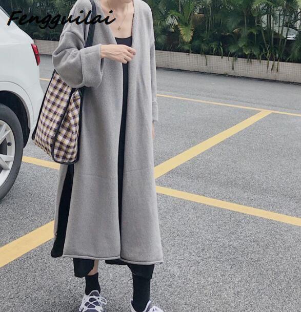 FENGGUILAI Hot Women Spring Autumn Long Cardigan Sweater Coat Female 2019 Fashion Sleeve Crochet Girl Knitted Jacket Tops
