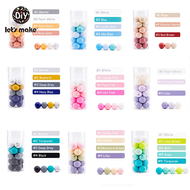 Infant Teether Silicone Beads 20pc 12mm Round Silicone Baby Teething Beads Food Grade Nursing Chew Silicone Beads Baby Teether