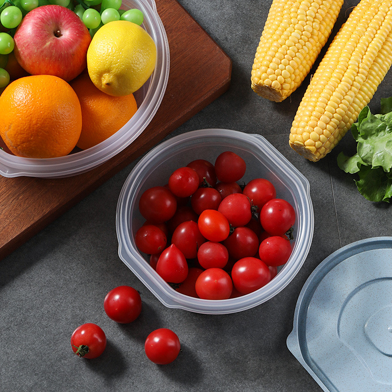 3-Pack Preservation Box Kit Plastic Household Circle Portable Large Capacity Refrigerator Storage Box Lunch Box Sealed Box