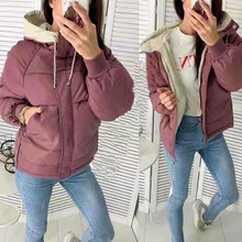 Winter Coat Parkas Plus-Size Women Bubble-Jacket Hooded FORERUN Patchwork Mujer Hiver