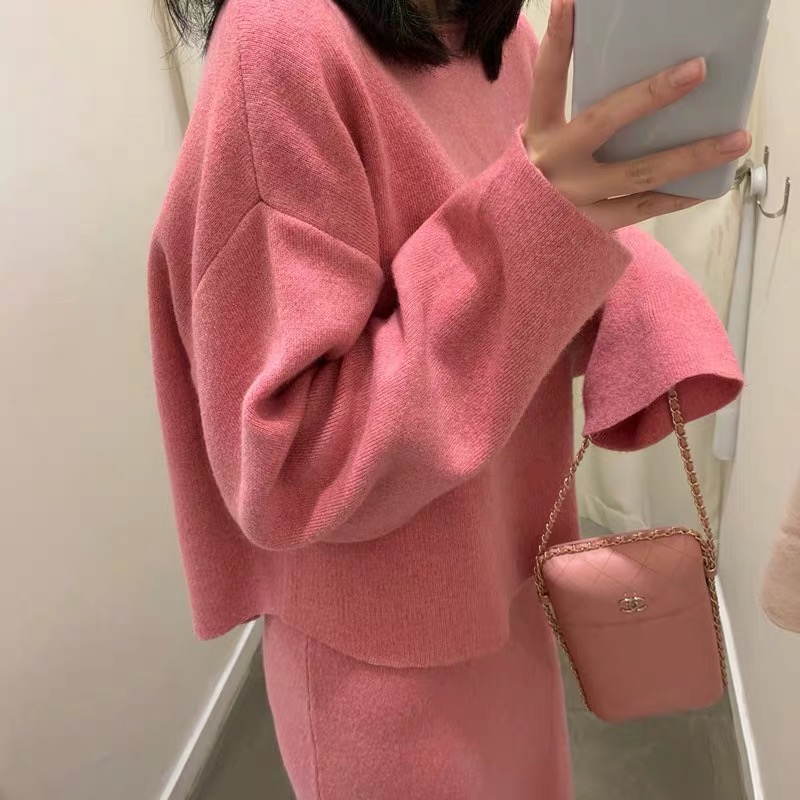 Elegant Cashmere Sweater Skirt 2pcs Knit Pullovers Top Skirt Suit Set Soft Suit Two-piece Female Knitted Skirt Suits Ka183