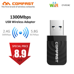 1300 Мбит/с мини usb-адаптер Wi-Fi сетевая карта Wi-Fi Dual Band 2,4 г/5,8 Г Беспроводной AC Вай-Фай адаптер для Windows XP/Vista/7/8/10 Mac OS