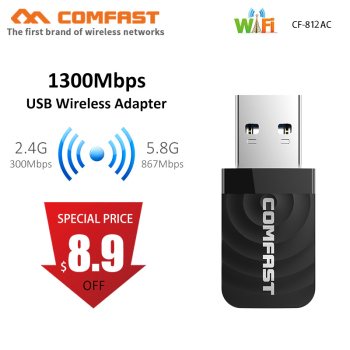 1300Mbps Mini USB Adapter Wifi karta sieciowa wi-fi dwuzakresowy 2 4G 5 8G bezprzewodowy AC Adapter Wifi dla systemu Windows XP Vista 7 8 10 Mac OS tanie i dobre opinie comfast 1300 mbps Zewnętrzny wireless ETHERNET Pulpit CE FCC 802 11a g 802 11n 802 11ac 150 CM USB3 0 2 4G i 5G 600 mbps